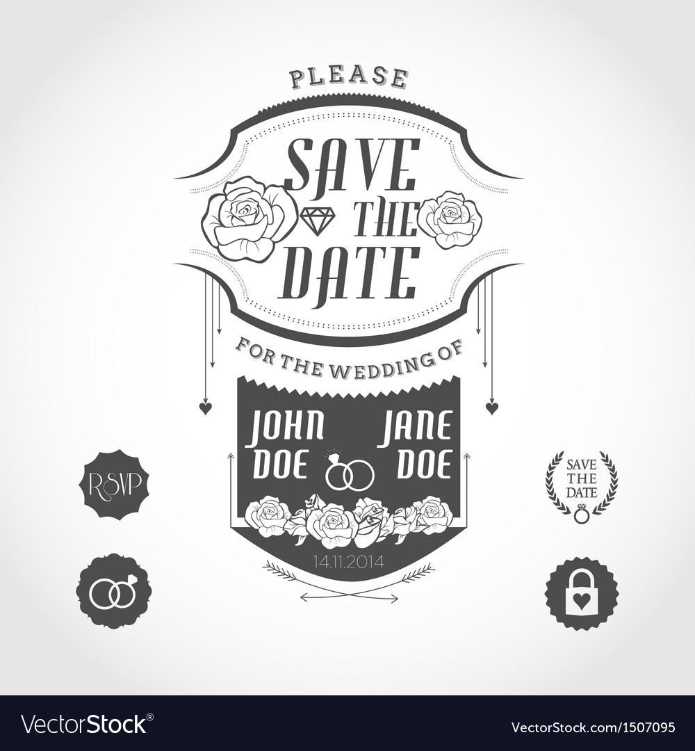 Set of wedding invitation design elements vector | Price: 1 Credit (USD $1)
