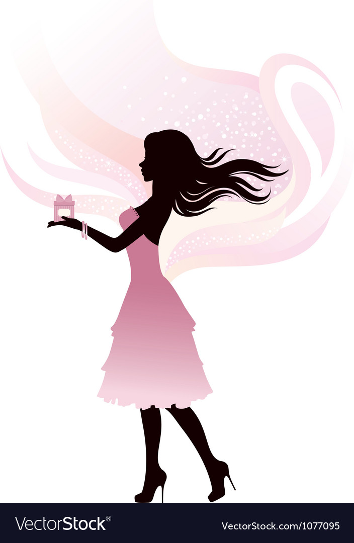 Silhouette of the girl with gift vector | Price: 1 Credit (USD $1)