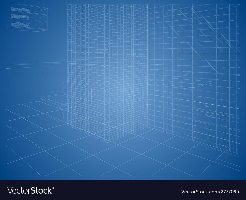 Wireframe bathroom vector | Price: 1 Credit (USD $1)