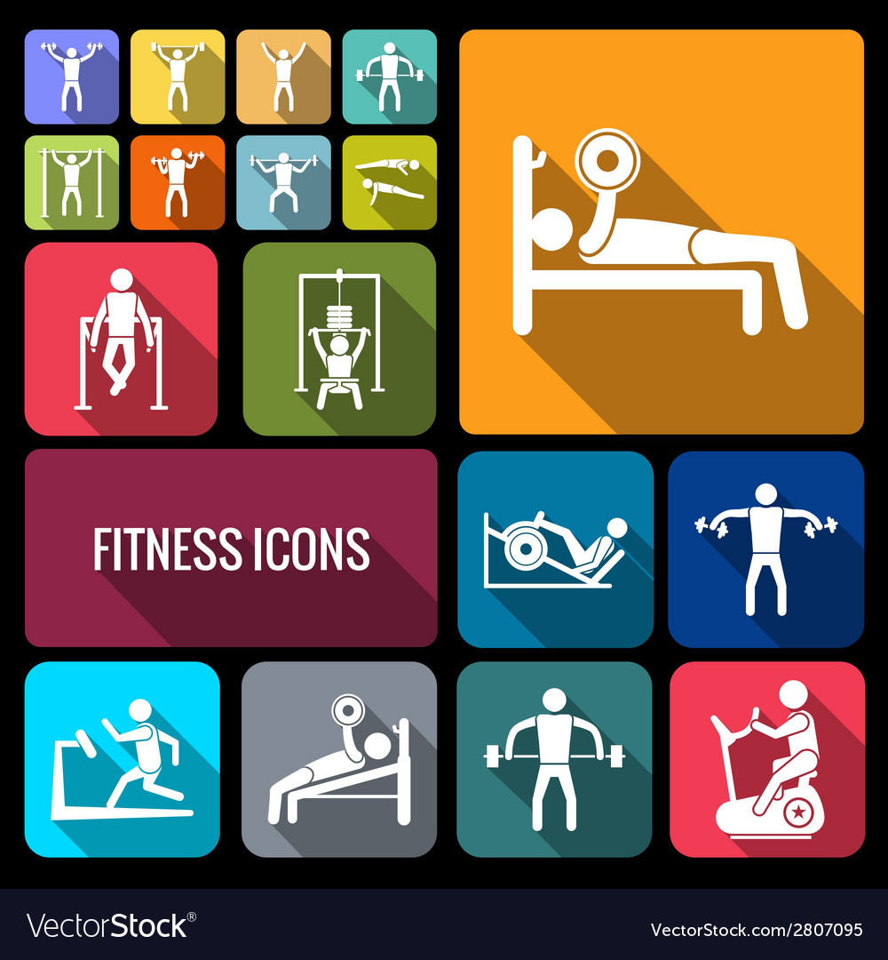 Workout training icons set flat vector | Price: 1 Credit (USD $1)