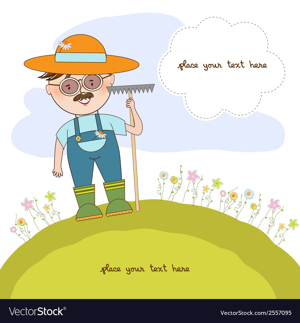 Young gardener who cares for flowers vector | Price: 1 Credit (USD $1)