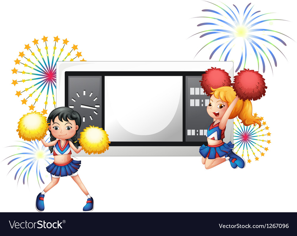 An empty scoreboard with two cheerdancers vector | Price: 1 Credit (USD $1)