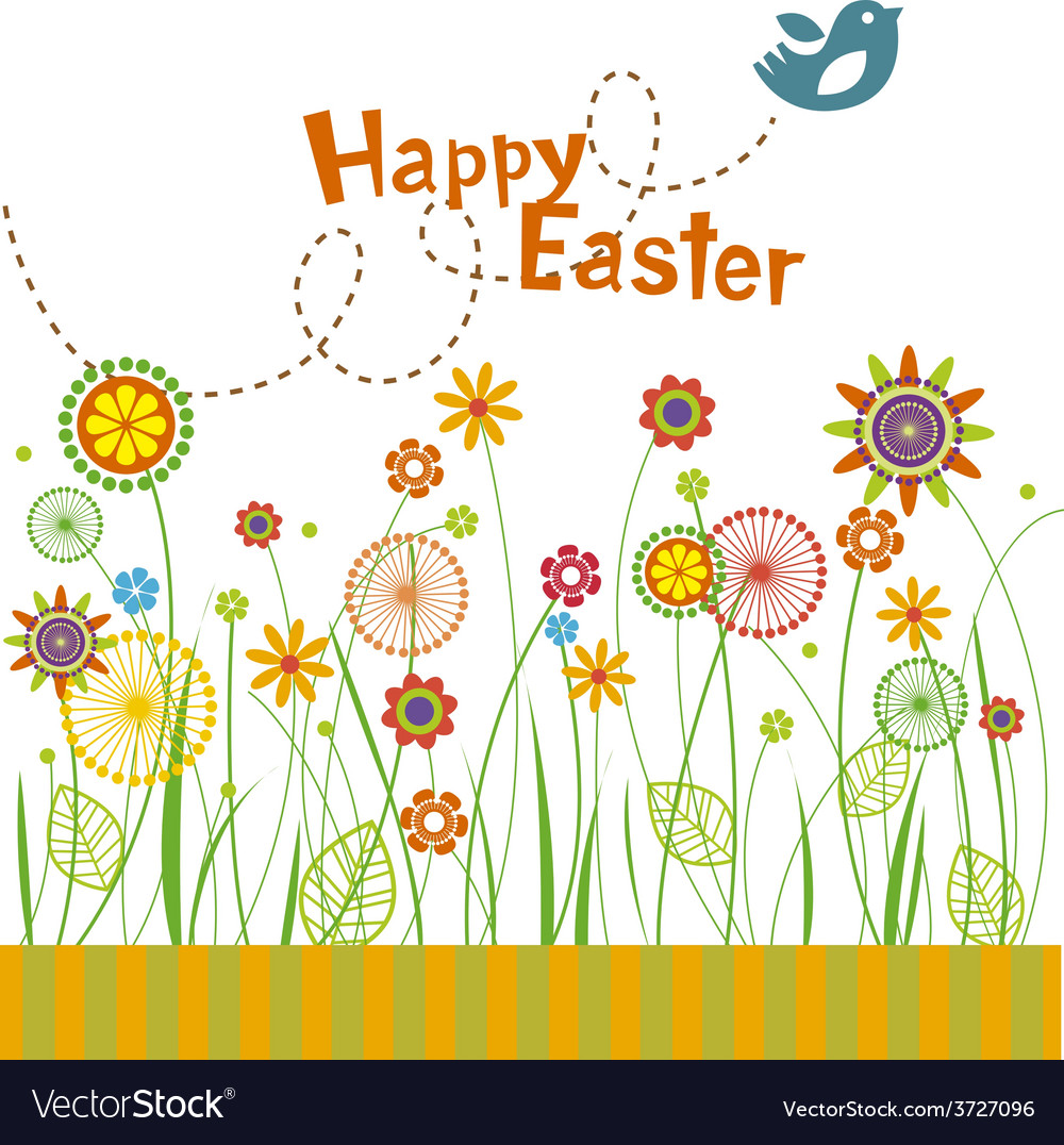 Easter flowers greeting card vector | Price: 1 Credit (USD $1)