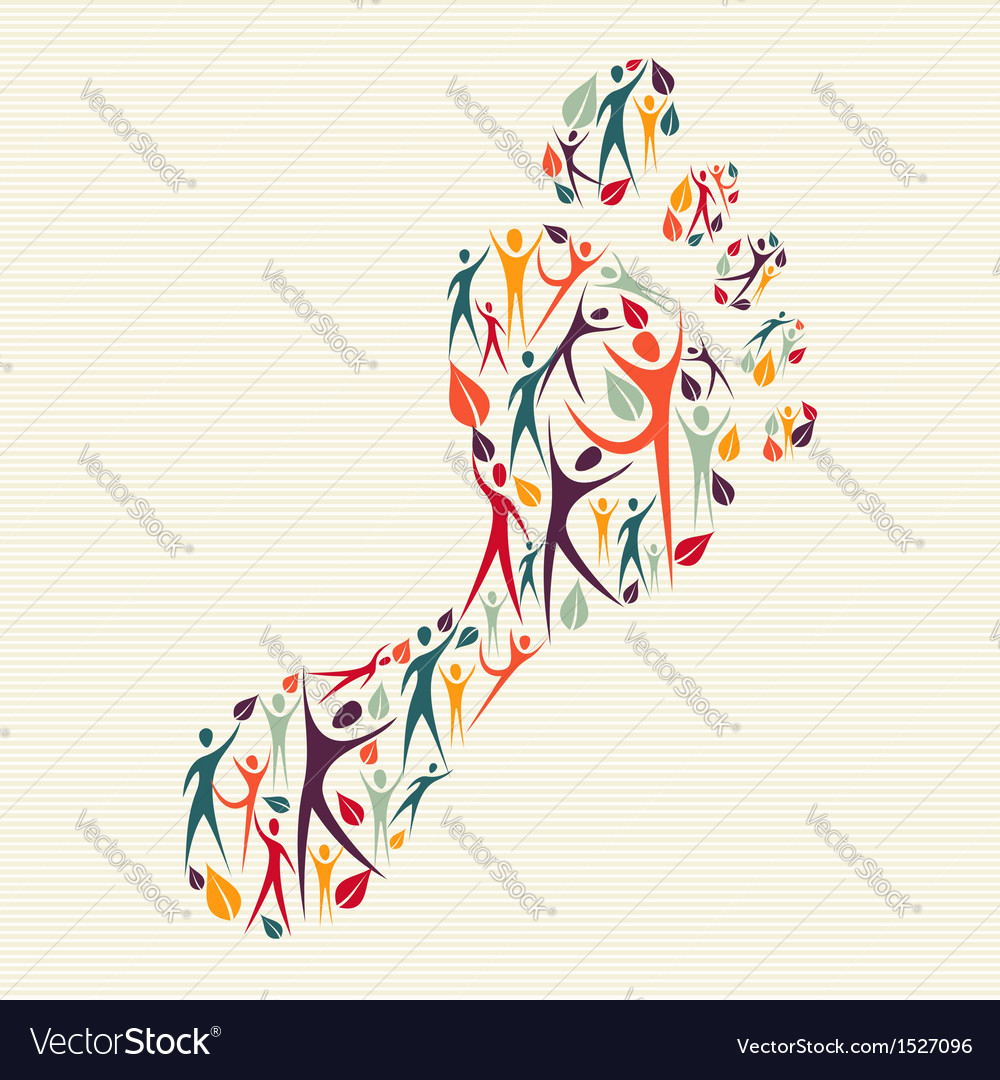 Embrace diversity concept foot print vector | Price: 1 Credit (USD $1)