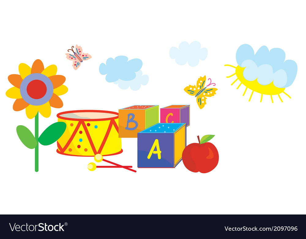 Funny banner for kids and kindergarten with toys vector | Price: 1 Credit (USD $1)