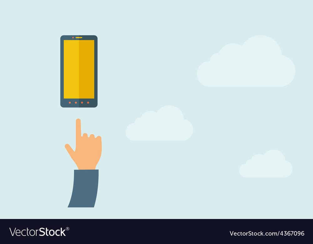 Hand pointing mobile phone with blank screen vector | Price: 1 Credit (USD $1)