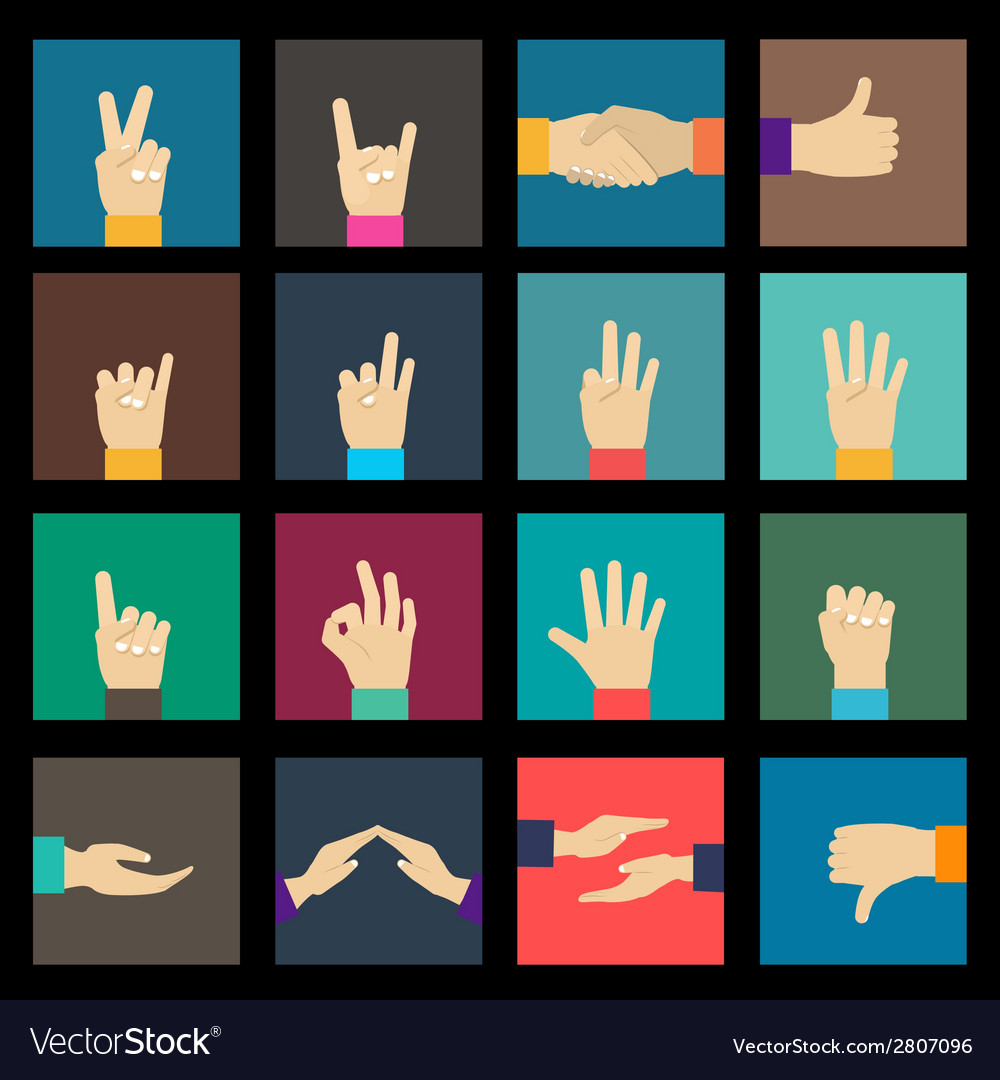 Hands icons set vector | Price: 1 Credit (USD $1)