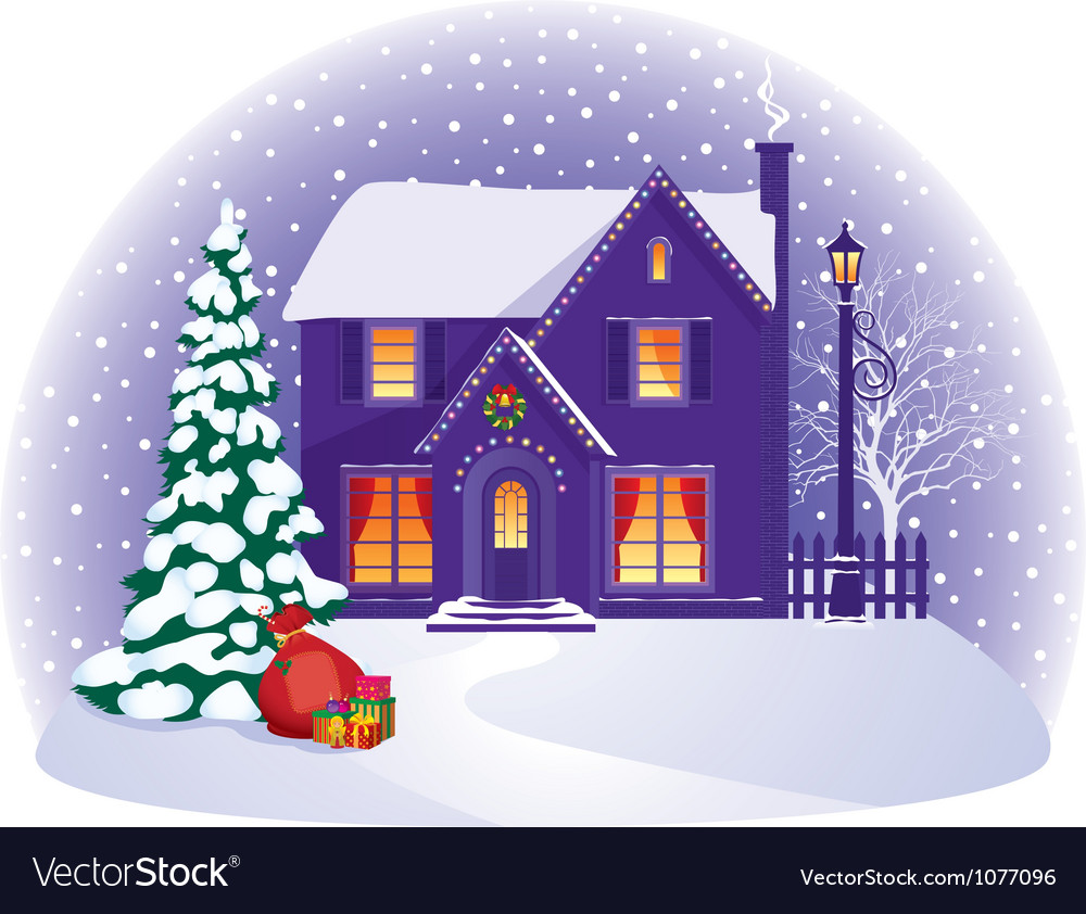House in winter christmas night vector | Price: 1 Credit (USD $1)