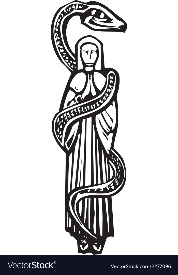 Mary and serpent vector | Price: 1 Credit (USD $1)