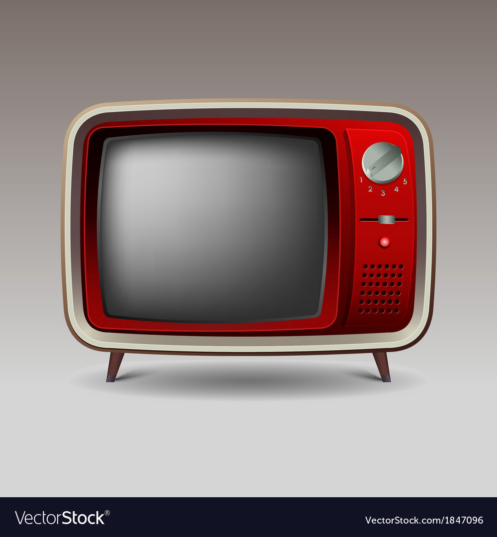 Old red retro television vector | Price: 1 Credit (USD $1)