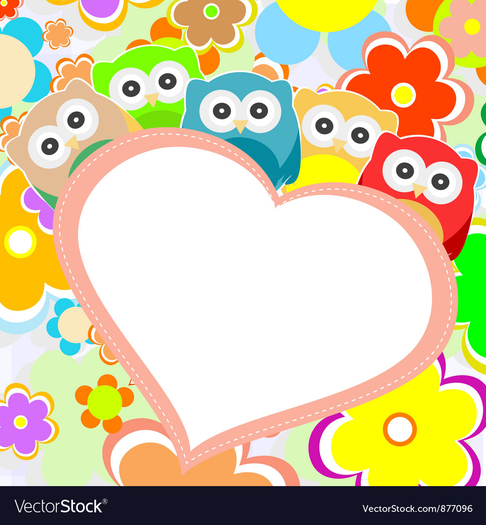Owls flowers and valentines heart vector | Price: 1 Credit (USD $1)