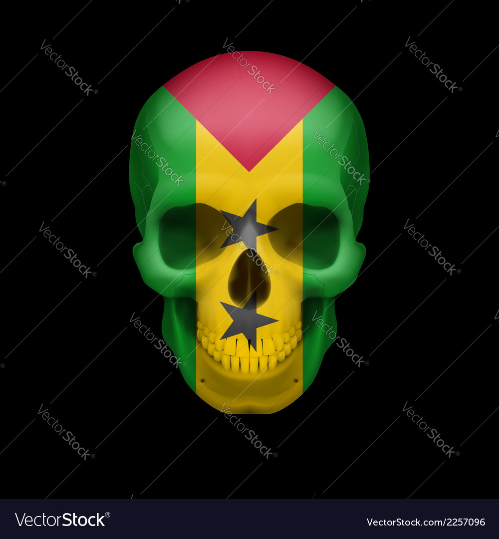 Sao tome and principe flag skull vector | Price: 1 Credit (USD $1)