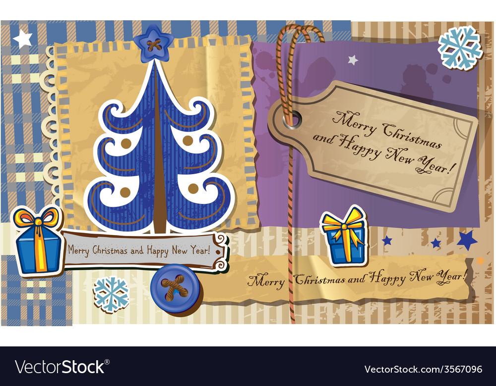 Scrapbook christmas greeting card vector | Price: 1 Credit (USD $1)