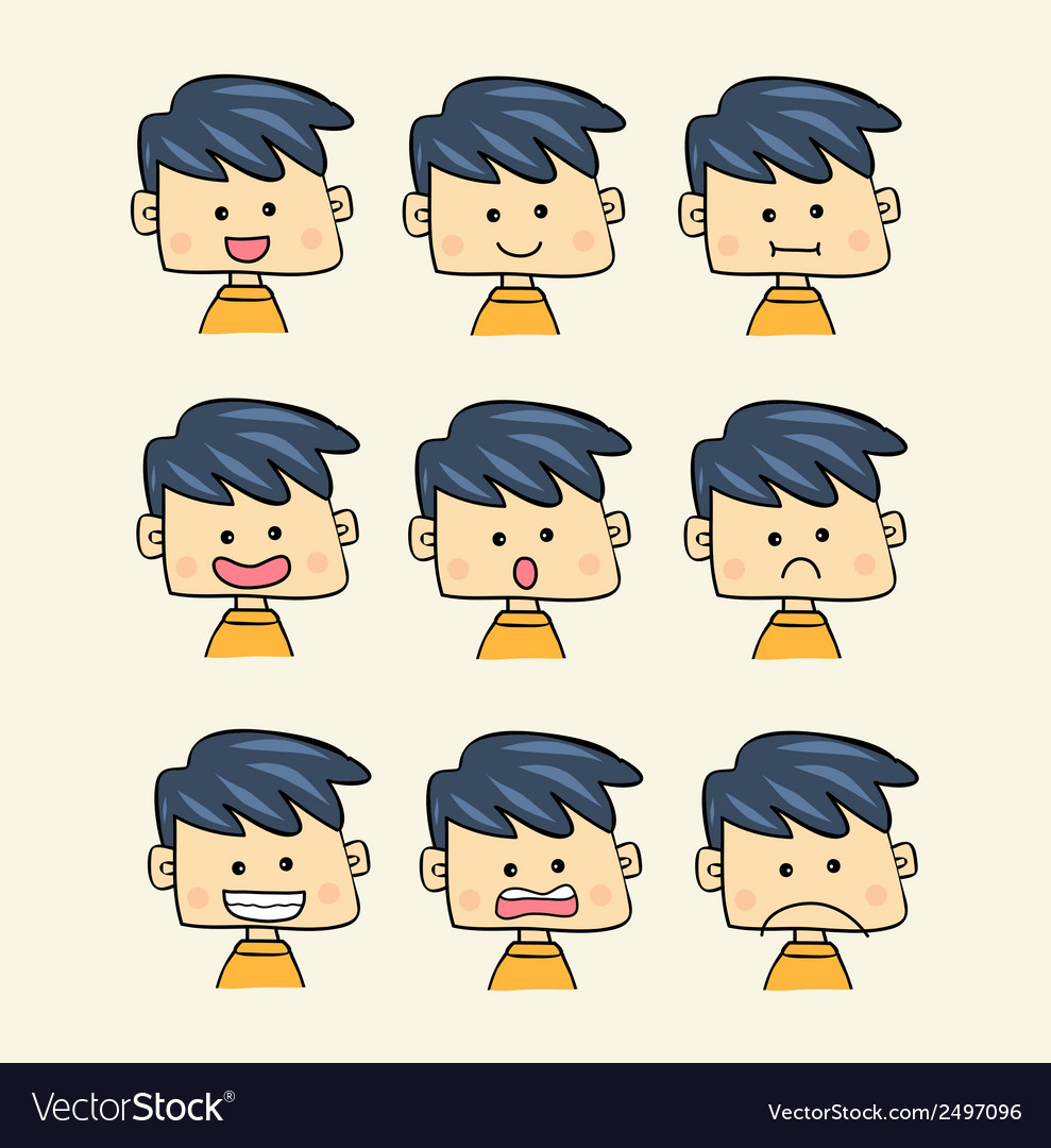 Set of faces with various emotion expressions cart vector | Price: 1 Credit (USD $1)