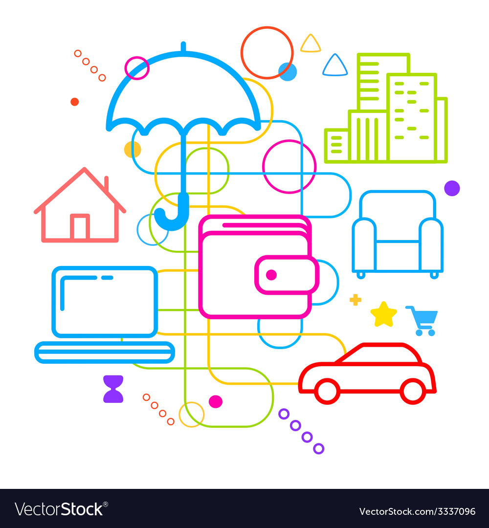 Symbols of property insurance online on abstract vector | Price: 3 Credit (USD $3)