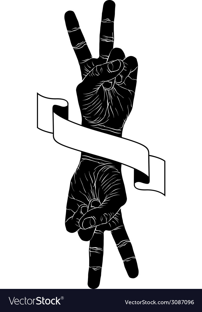 Victory hand sign with two hands and ribbon vector | Price: 1 Credit (USD $1)