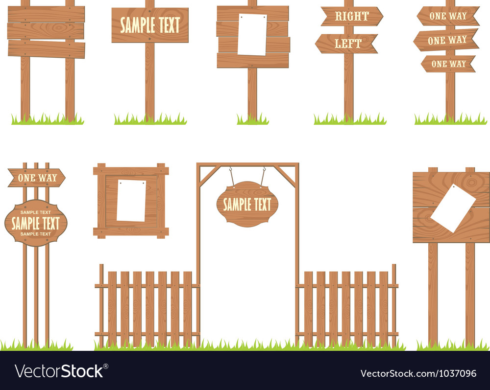 Wooden sign posts vector | Price: 1 Credit (USD $1)