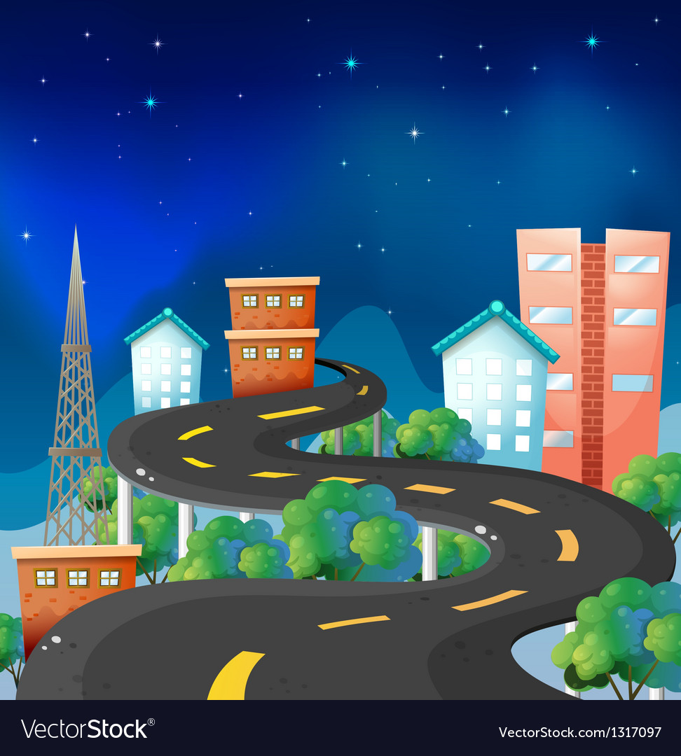 A curve road in the city vector | Price: 1 Credit (USD $1)