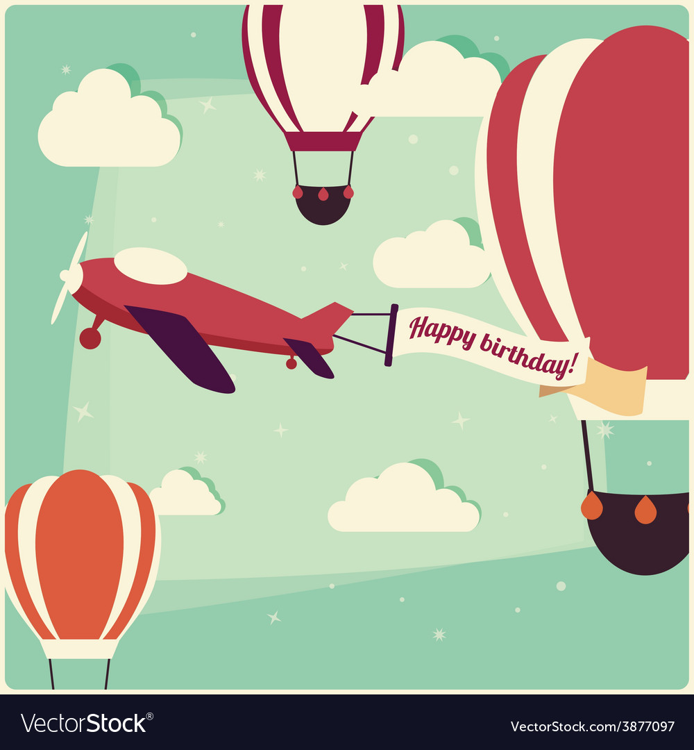 Birthday background hot air balloons and airplane vector | Price: 1 Credit (USD $1)