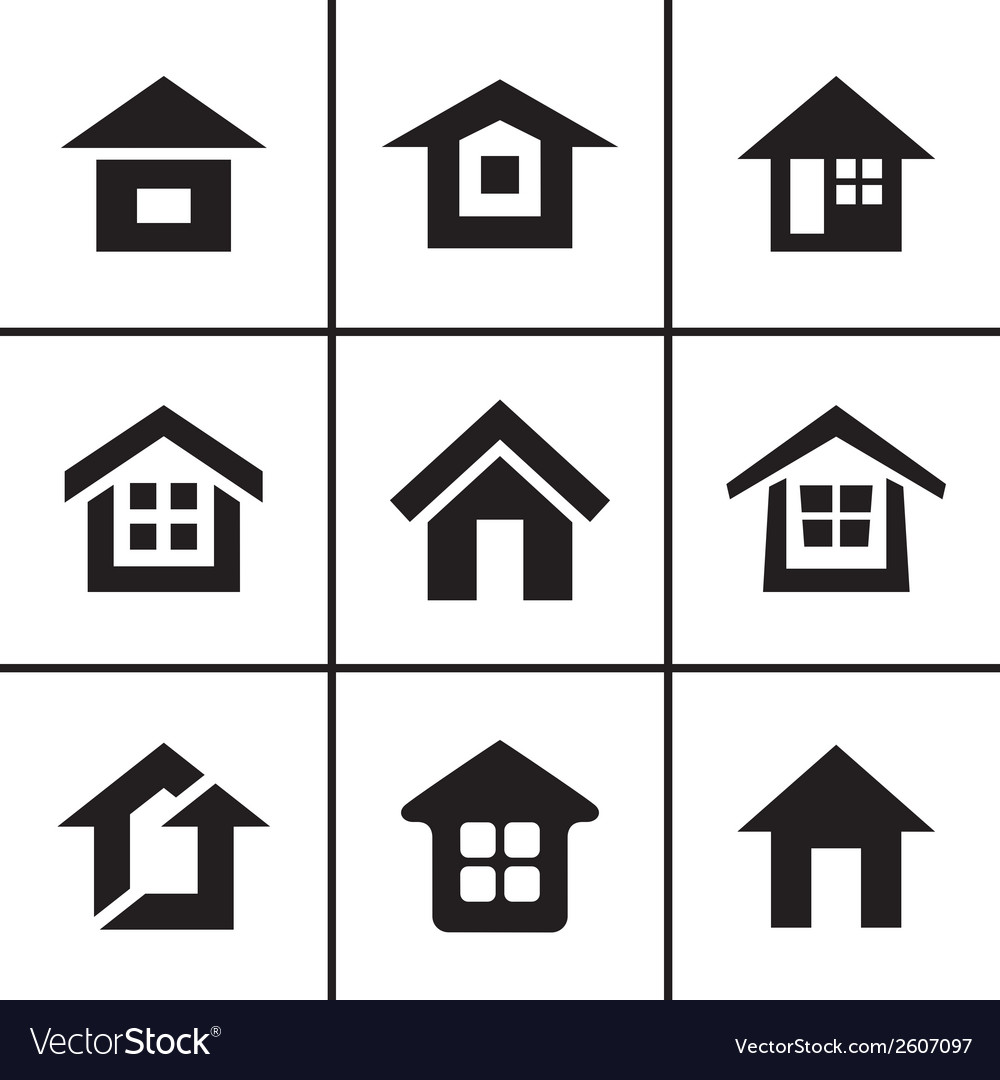 Home real estate icons set vector | Price: 1 Credit (USD $1)