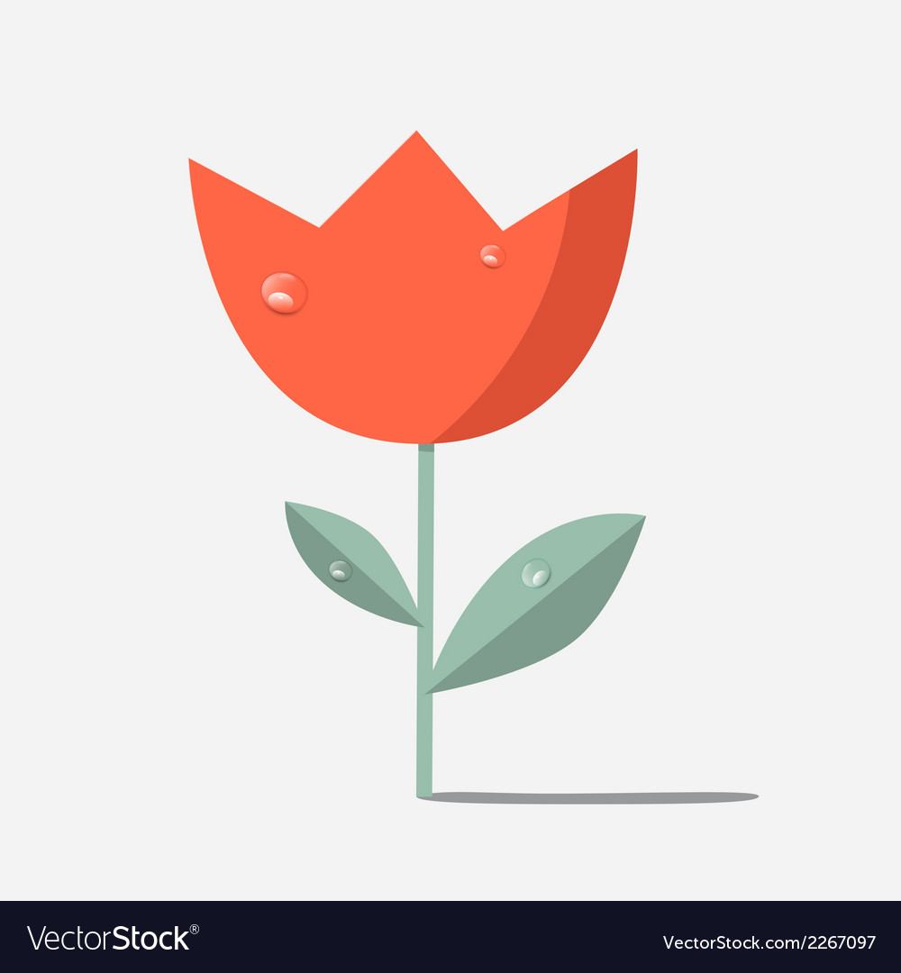 Retro red flower tulip vector | Price: 1 Credit (USD $1)