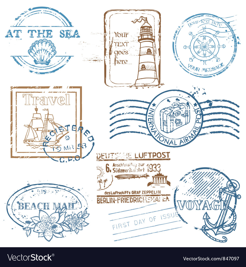 Set of retro sea stamps vector | Price: 1 Credit (USD $1)