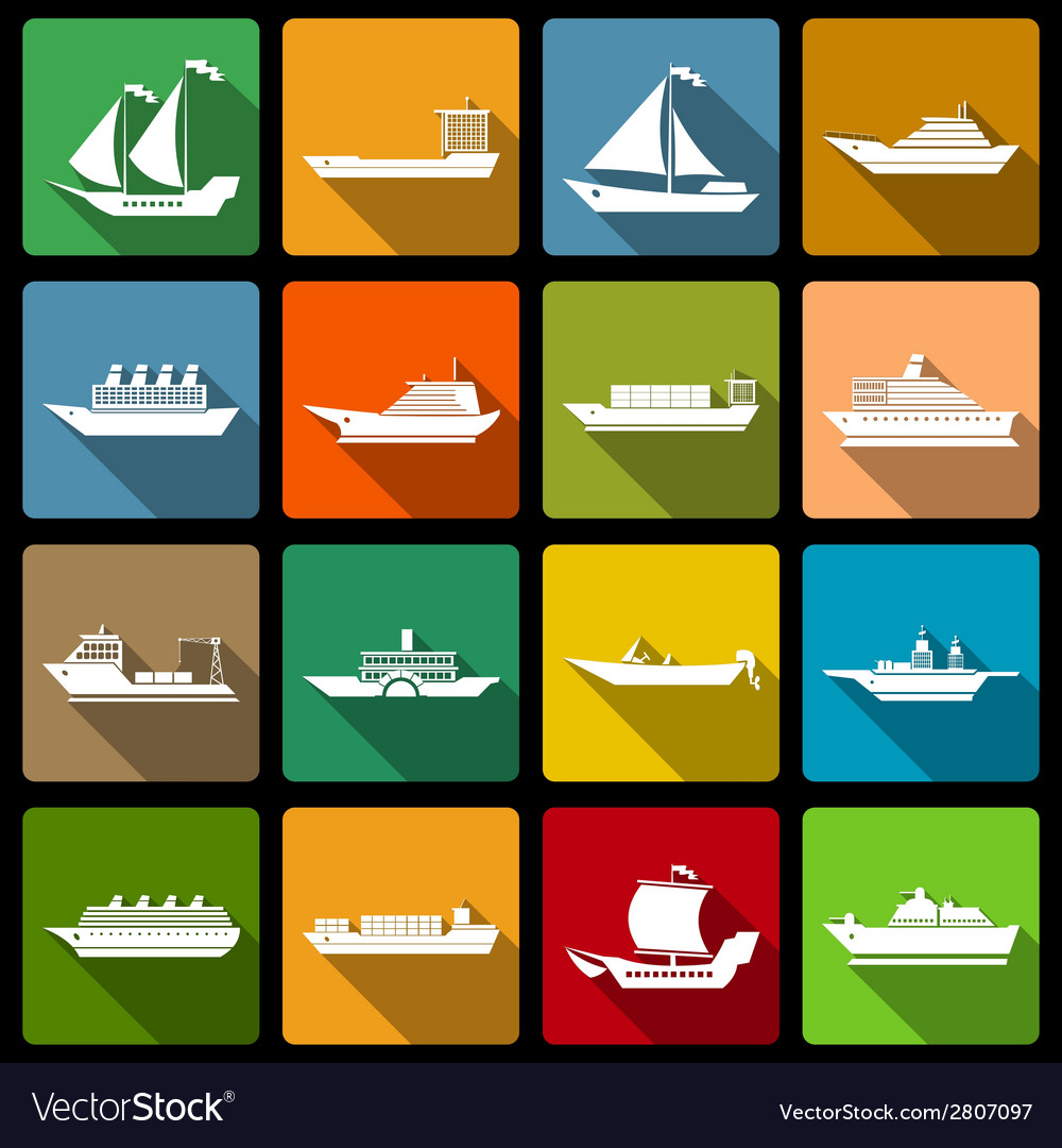 Ship and boats icons set flat vector | Price: 1 Credit (USD $1)