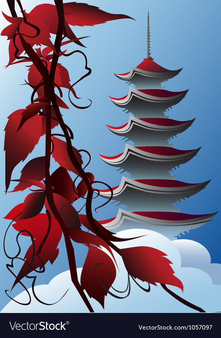 Sunrise pagoda vector | Price: 1 Credit (USD $1)