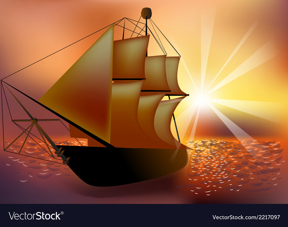 Sunset and ship vector | Price: 1 Credit (USD $1)