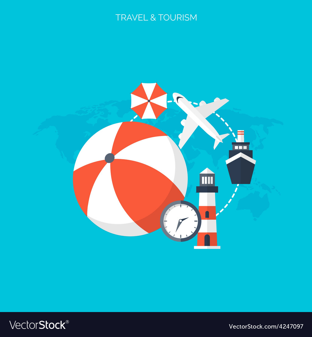 World travel concept background flat icons vector | Price: 1 Credit (USD $1)
