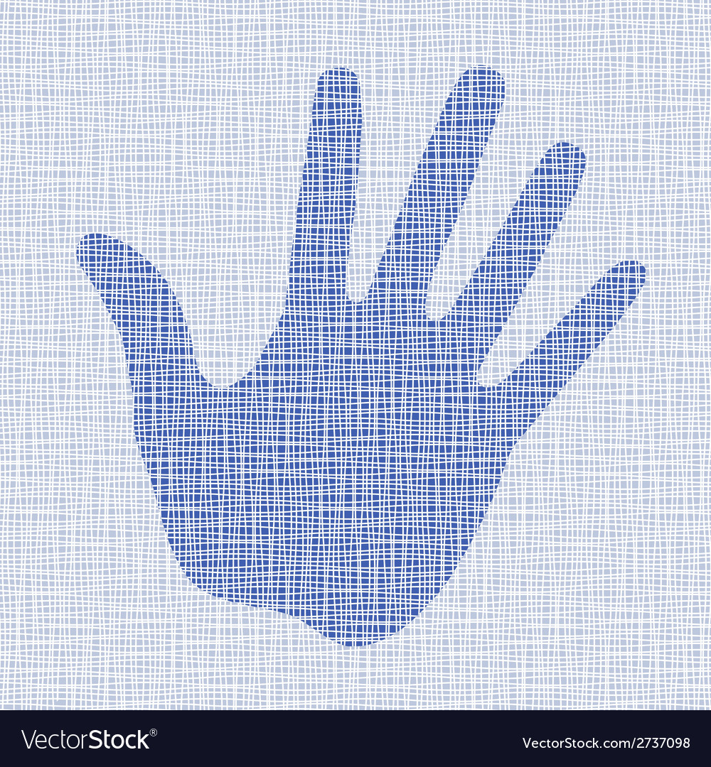 Blue hand print on canvas texture vector   Price: 1 Credit (USD $1)