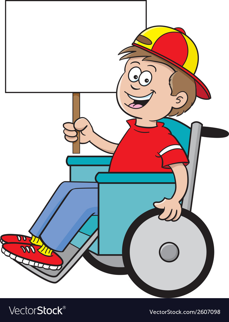 Cartoon wheelchair boy sign vector | Price: 1 Credit (USD $1)