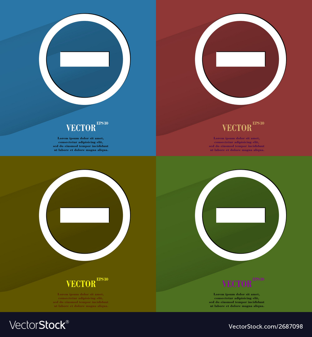 Color set minus flat modern web button with long vector | Price: 1 Credit (USD $1)