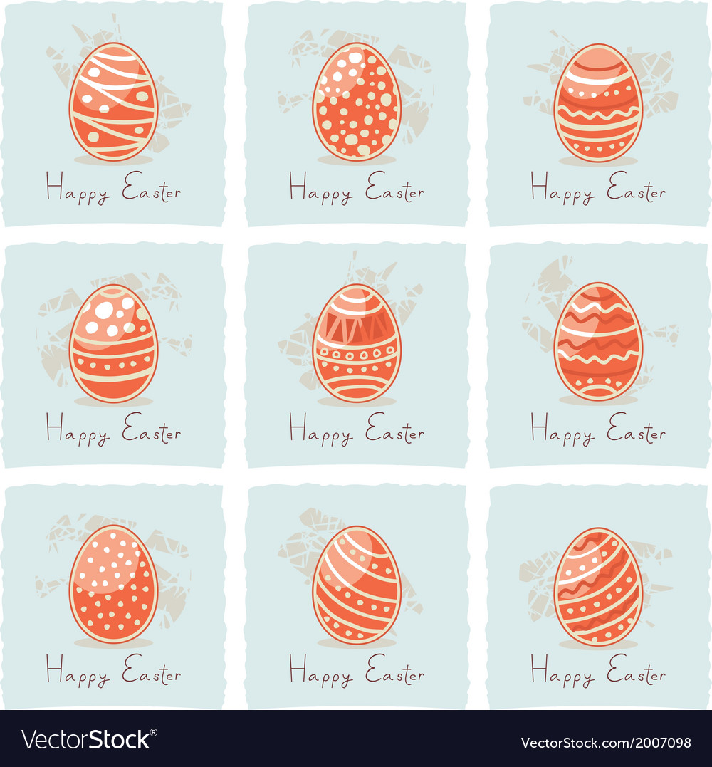 Easter red eggs set vector | Price: 1 Credit (USD $1)