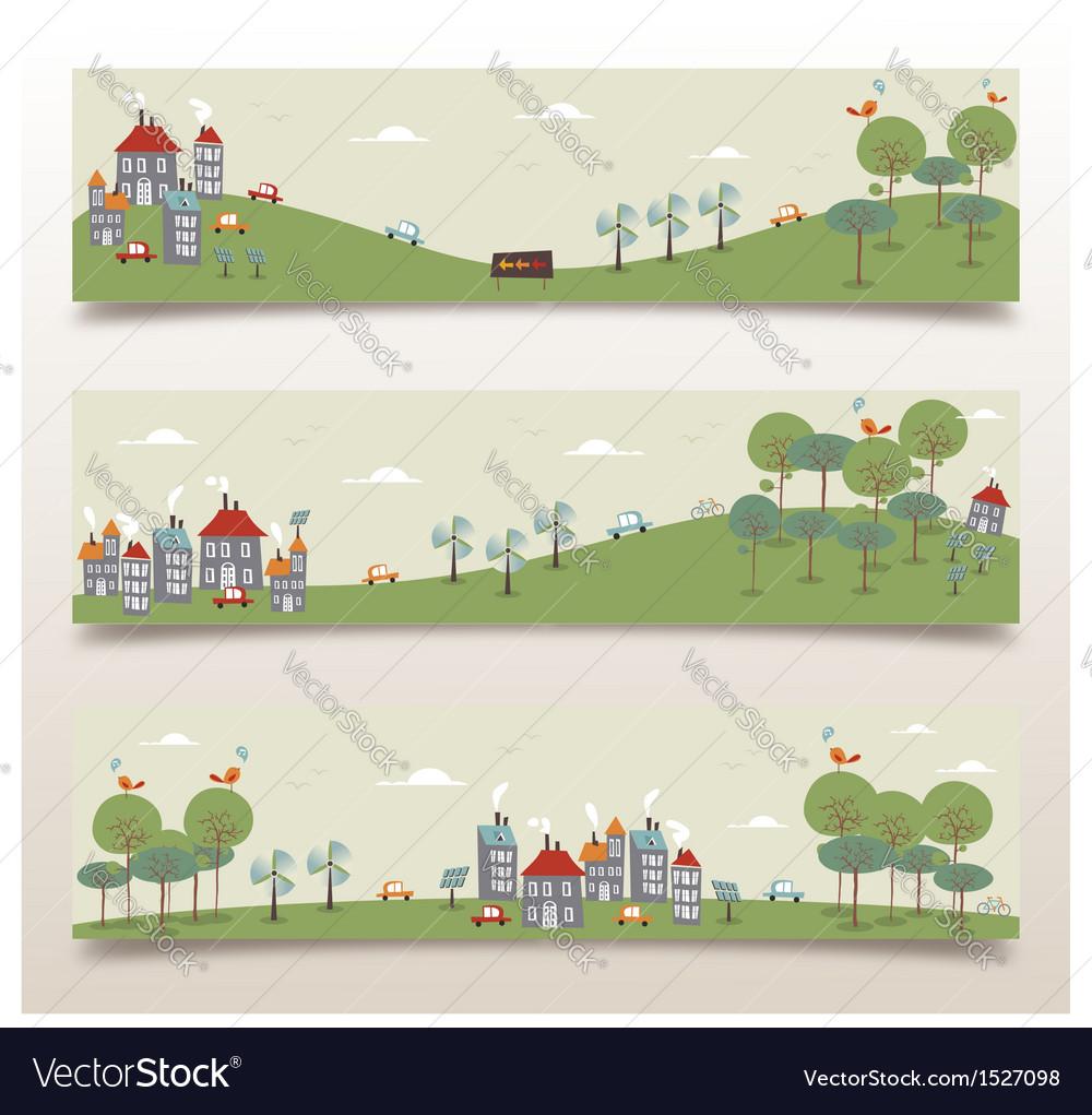 Go green banner set vector | Price: 1 Credit (USD $1)