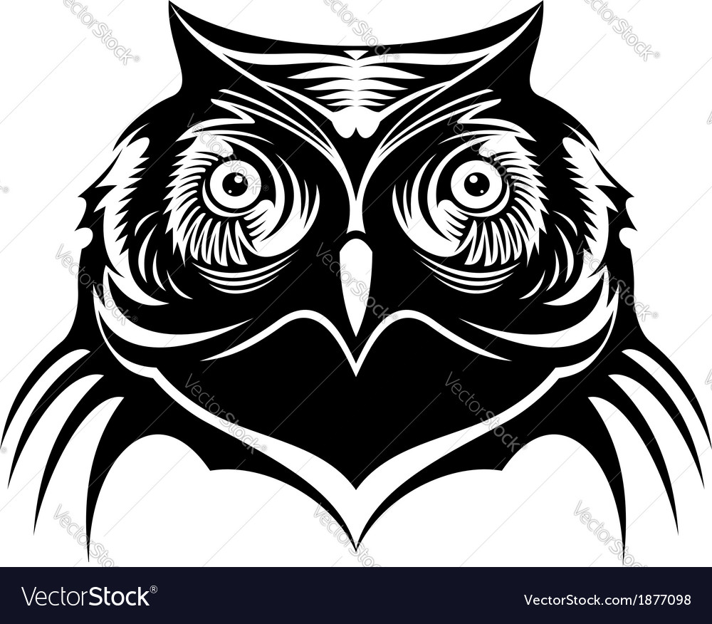 Head of a wise old owl vector | Price: 1 Credit (USD $1)
