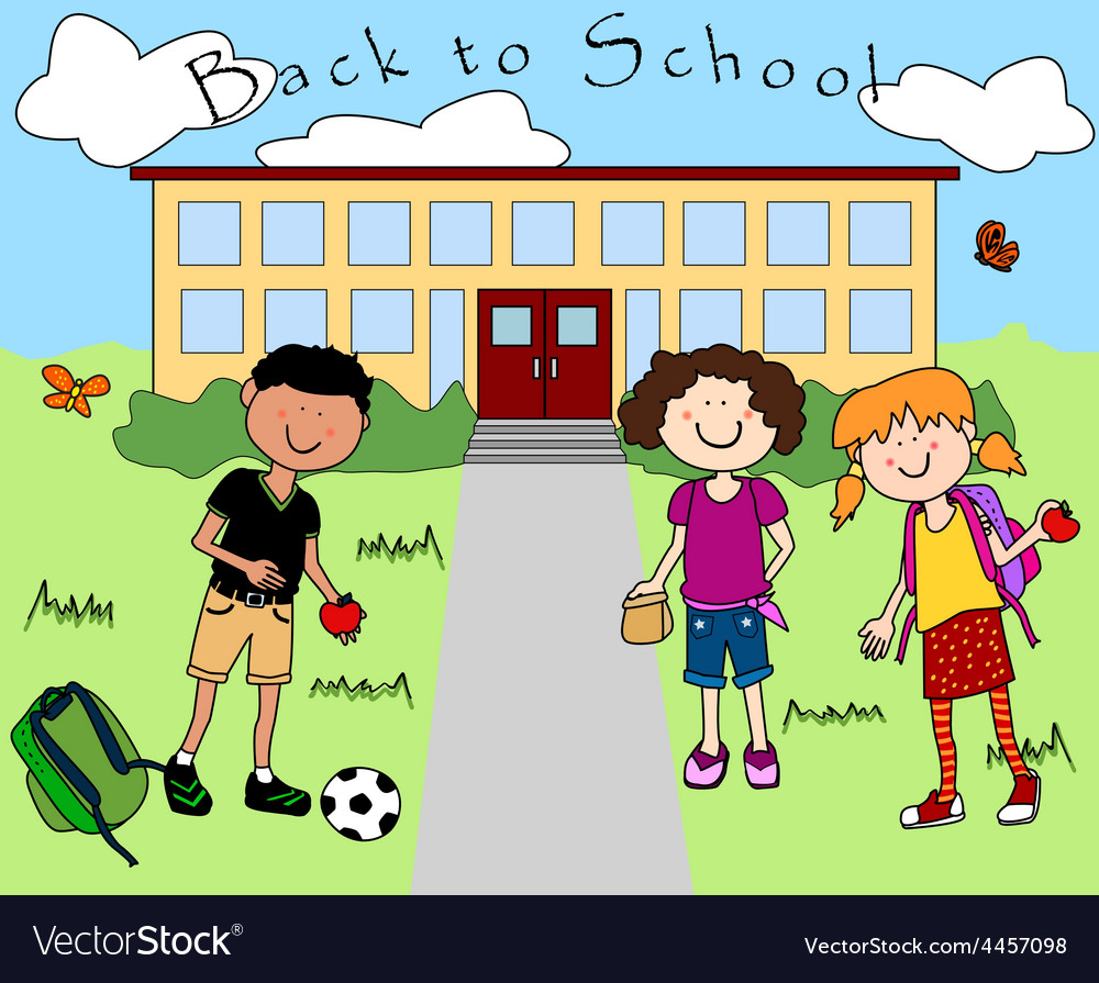 Kids going back to school vector | Price: 1 Credit (USD $1)