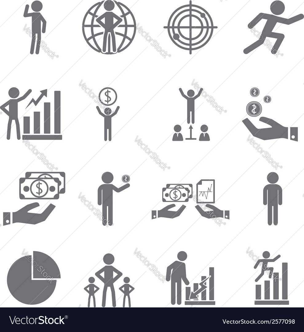 Management icons set vector | Price: 1 Credit (USD $1)