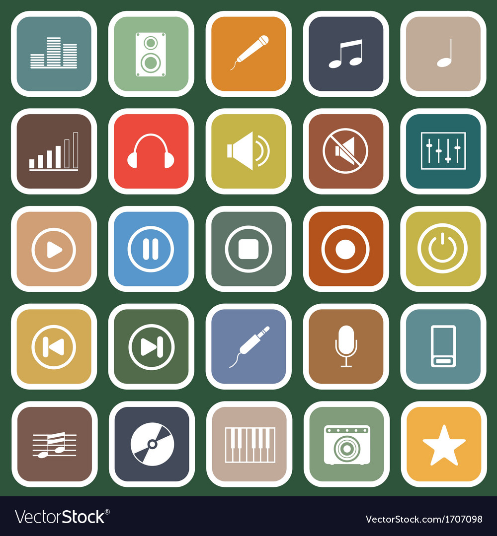 Music flat icons on green background vector | Price: 1 Credit (USD $1)