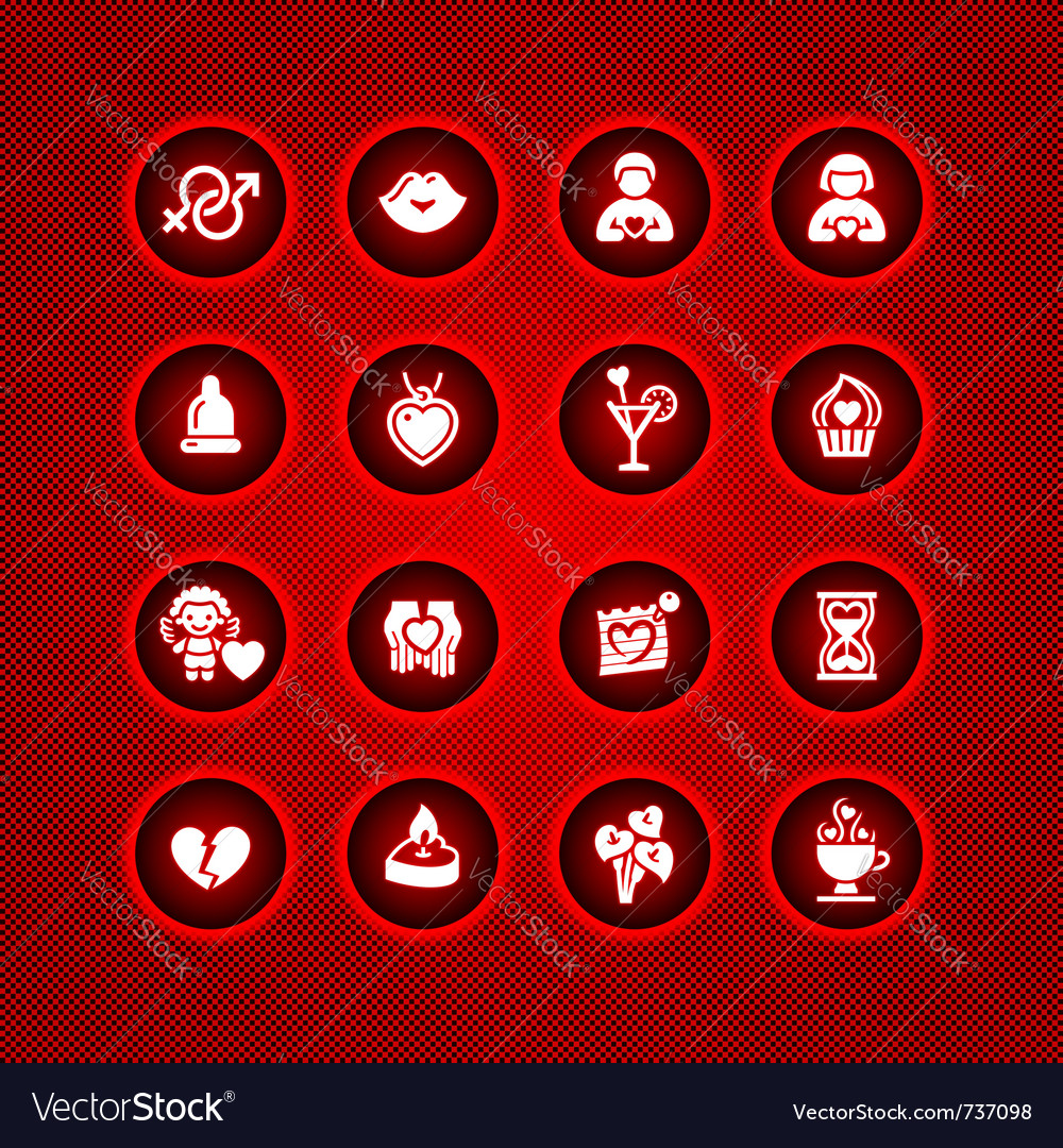 Set valentines day icons love romantic symbols vector | Price: 1 Credit (USD $1)