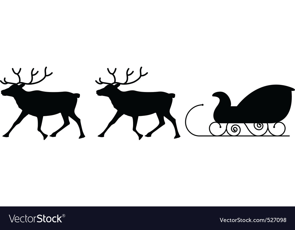 Sled and reindeers vector | Price: 1 Credit (USD $1)