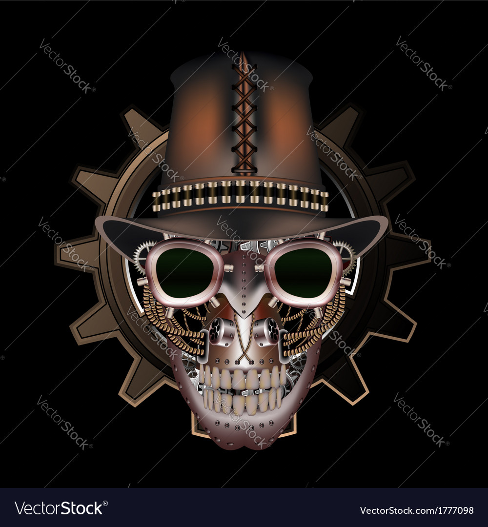 Steampunk skull wearing top hat vector | Price: 1 Credit (USD $1)