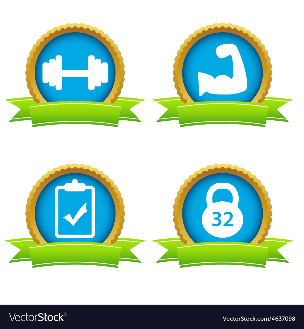 Weightlifting icons set vector | Price: 1 Credit (USD $1)