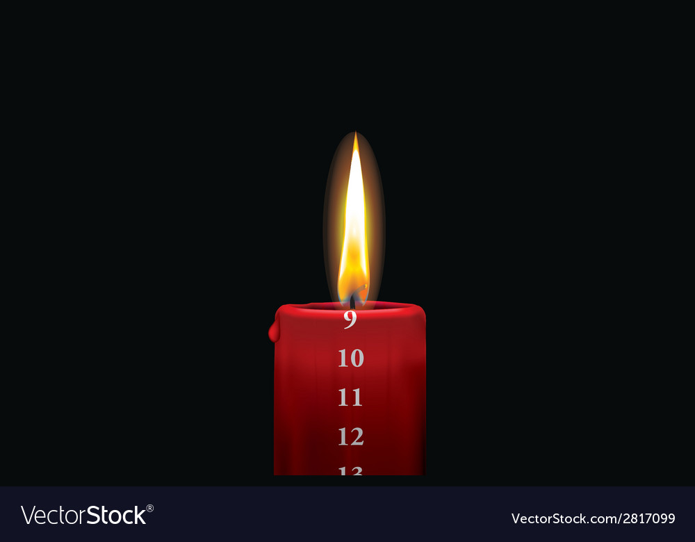 Advent candle red 9 vector | Price: 1 Credit (USD $1)