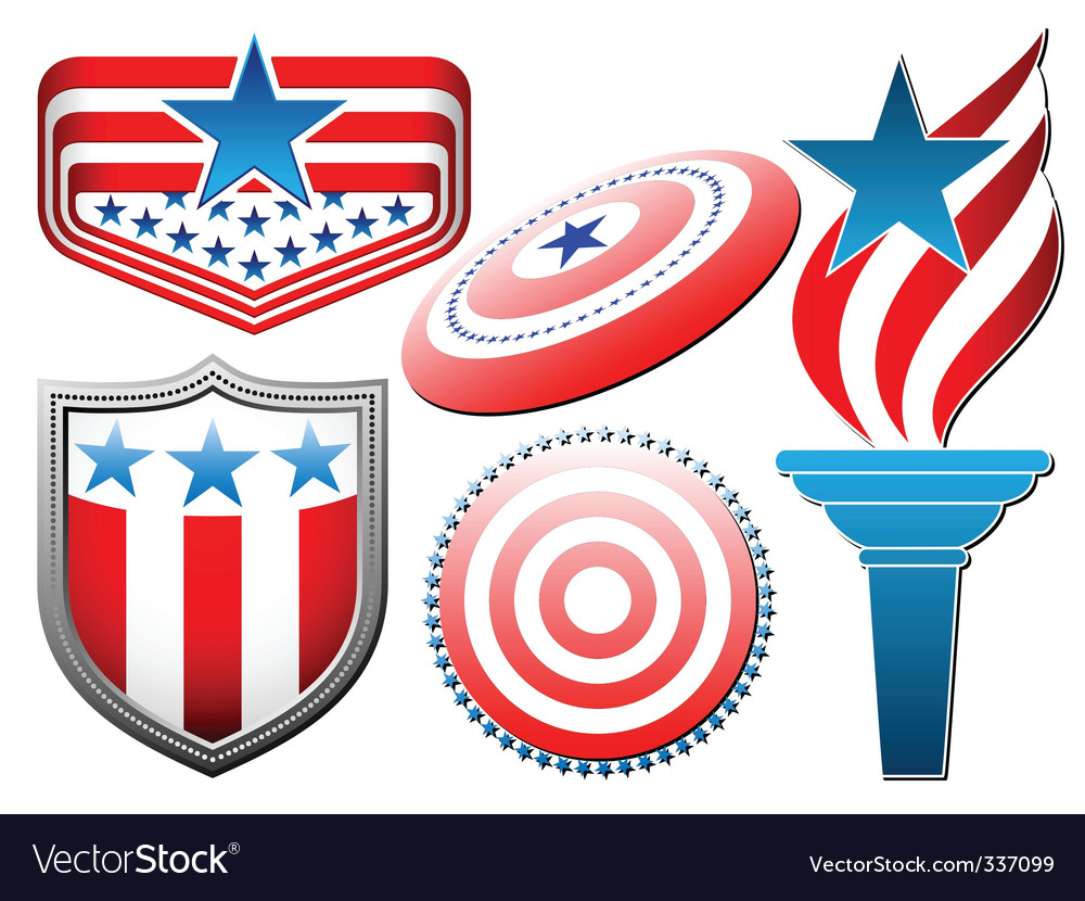American star and stripes set vector | Price: 1 Credit (USD $1)
