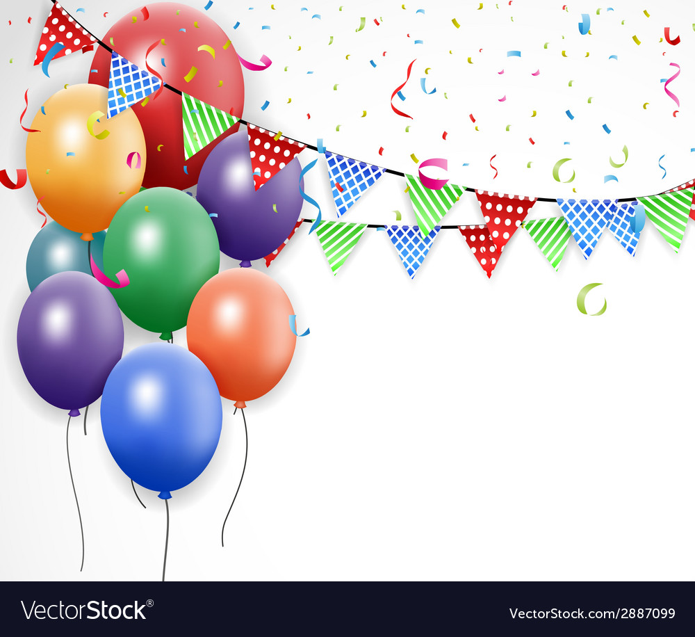 Birthday design with balloon and confetti vector   Price: 1 Credit (USD $1)