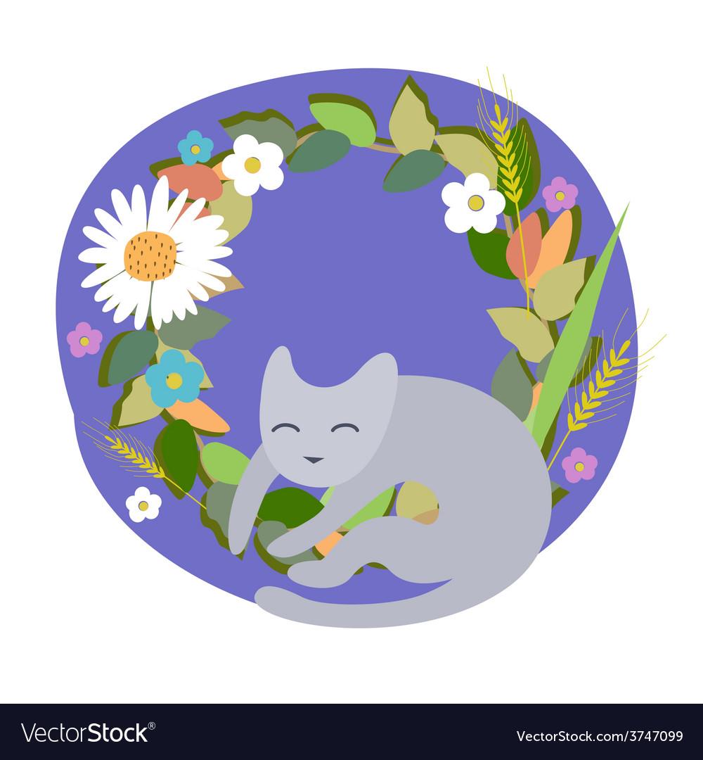 Cat in flowers vector | Price: 1 Credit (USD $1)