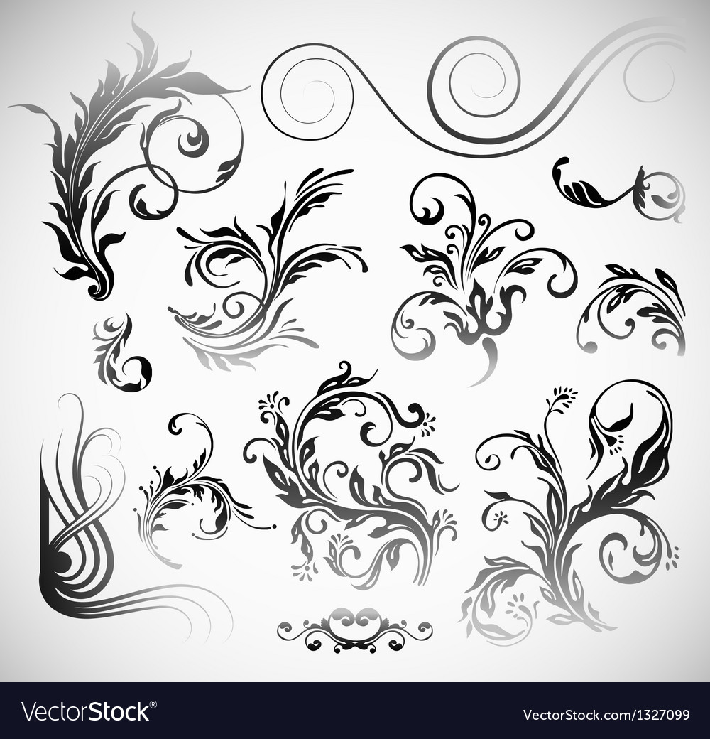 Ornament flowers vintage design elements vector | Price: 1 Credit (USD $1)
