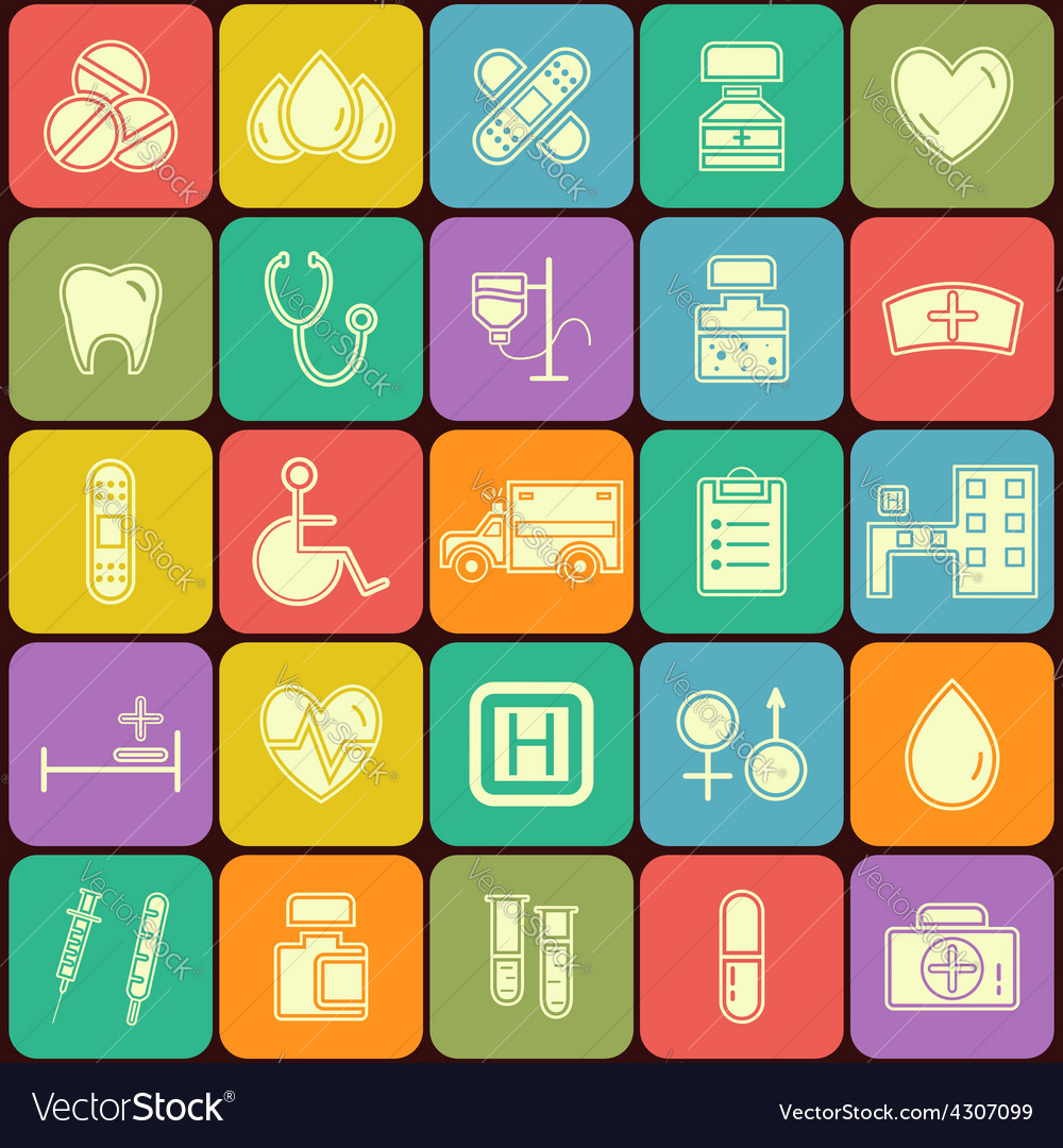 Set of flat medical icons isolated on multicolor vector | Price: 1 Credit (USD $1)