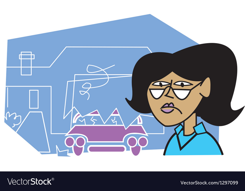 Woman at an accident vector | Price: 1 Credit (USD $1)